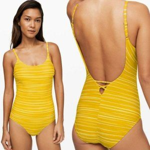 Lululemon Salt-Laced One-Piece Swimsuit Yellow 10